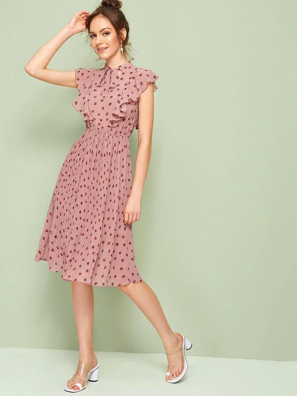 Tie Neck Ruffle Trim Pleated Dress