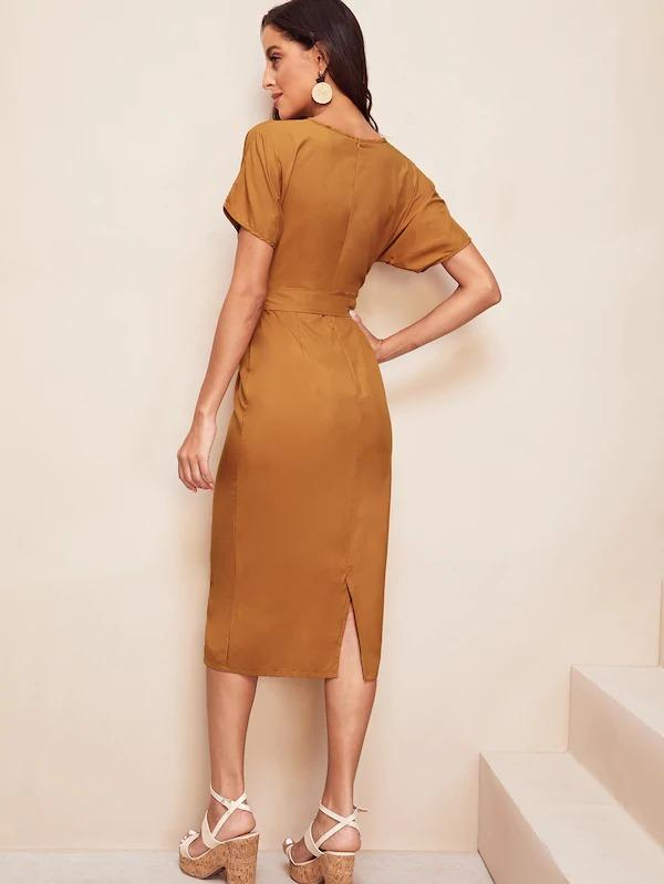 Tie Waist Split Back Pencil Dress
