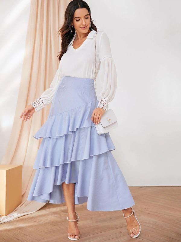 Tiered Layer Striped Dip Hem Skirt
