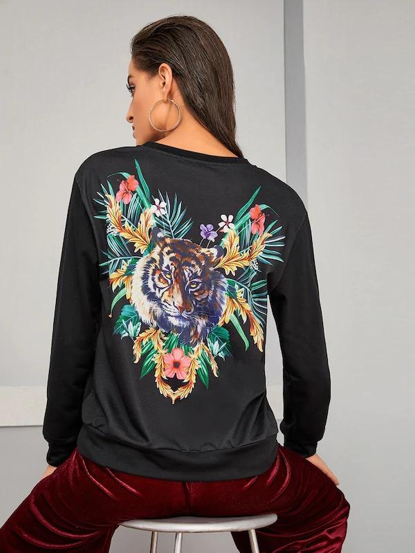 Tiger & Tropical Print Pullover
