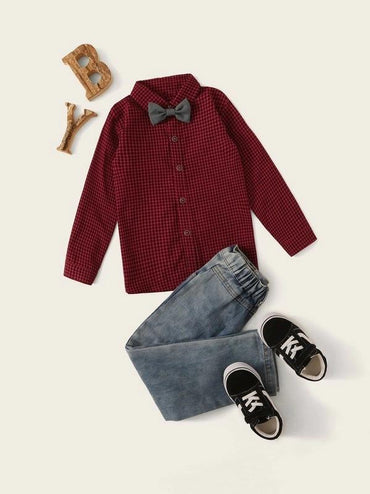 Toddler Boys Bow Tie Gingham Shirt