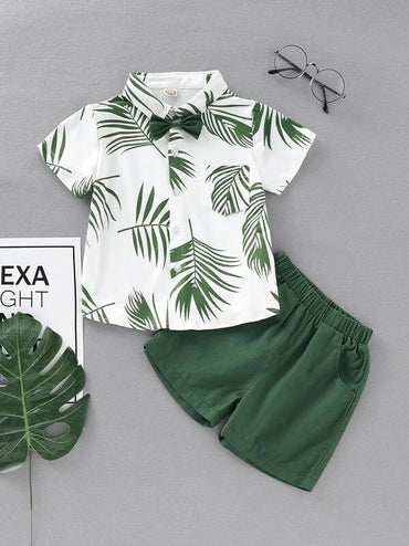 Toddler Boys Bow Tie Leaf Print Shirt With Shorts