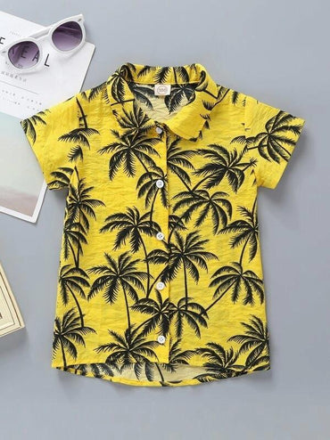Toddler Boys Coconut Trees Print High Low Shirt