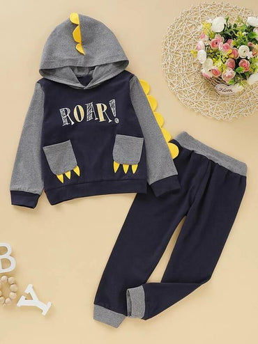 Toddler Boys Contrast Patched Letter Graphic Hoodie With Sweatpants