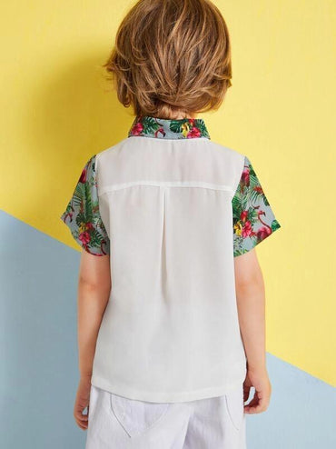 Toddler Boys Contrast Tropical Collar & Cuff Pocket Shirt
