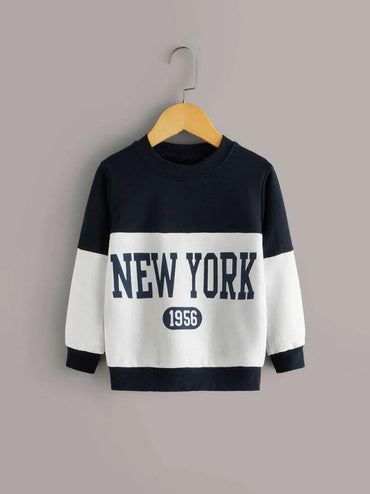 Toddler Boys Cut And Sew Letter Print Sweatshirt