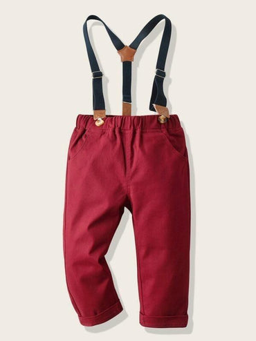 Toddler Boys Double Button Straight Pants With Straps