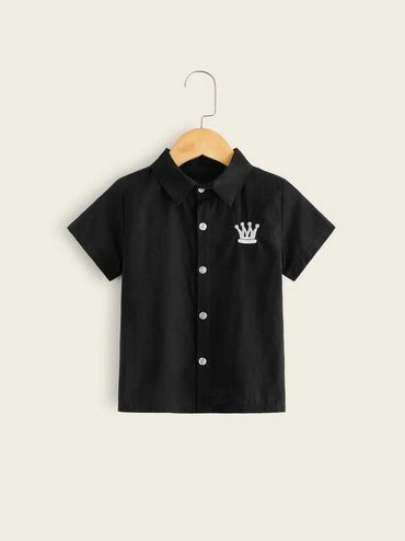 Toddler Boys Imperial Crown Embroidery Shirt