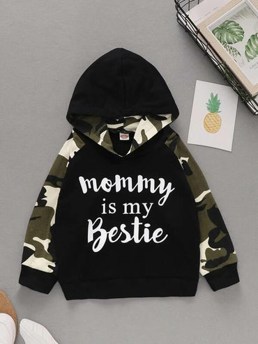 Toddler Boys Letter And Camo Print Hooded Sweatshirt