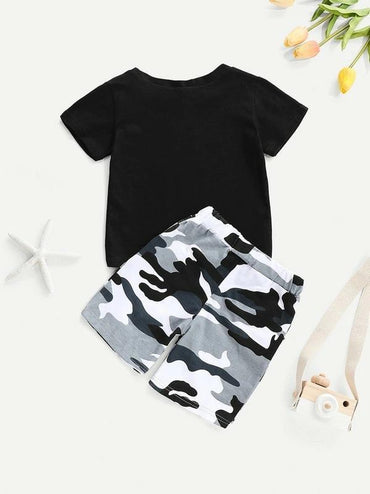 Toddler Boys Letter Graphic Tee With Camo Shorts