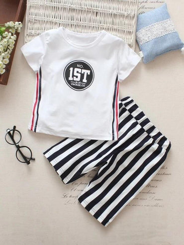 Toddler Boys Letter Graphic Tee With Striped Pants