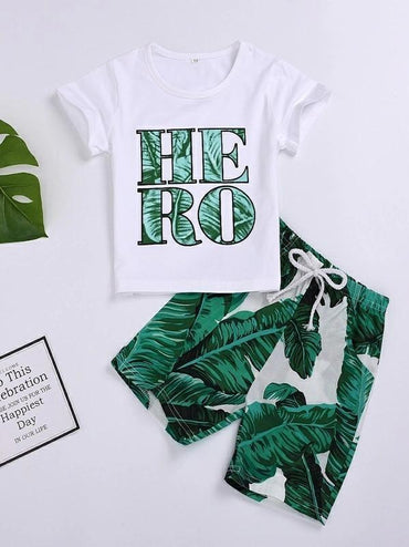 Toddler Boys Letter Graphic Tee With Tropical Bermuda Shorts