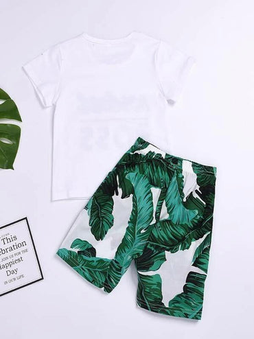 Toddler Boys Letter Graphic Tee With Tropical Shorts
