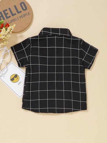 Toddler Boys Plaid Bow Front Shirt