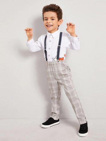 Toddler Boys Plaid Elastic Waist Pants With Straps