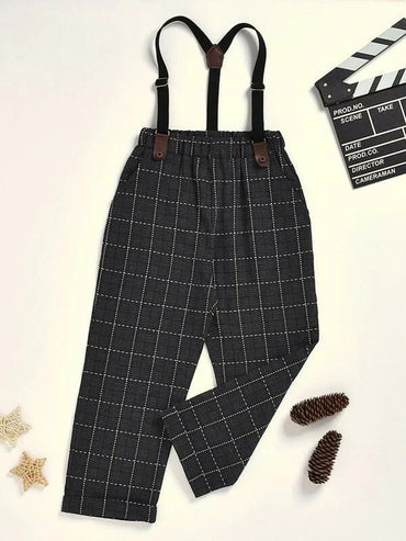 Toddler Boys Plaid Straight Pants With Straps