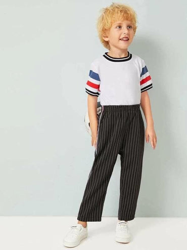 Toddler Boys Striped Tape Side Pants