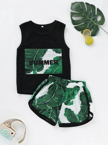 Toddler Boys Tropical Print Tank Top With Dolphin Shorts