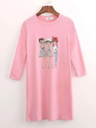Toddler Girl Figure Print Tee Dress