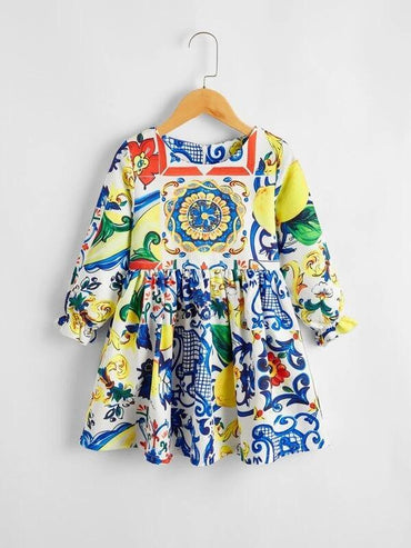 Toddler Girls Baroque And Lemonade Print Smock Dress