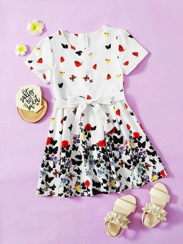 Toddler Girls Butterfly And Floral Print Belted Dress