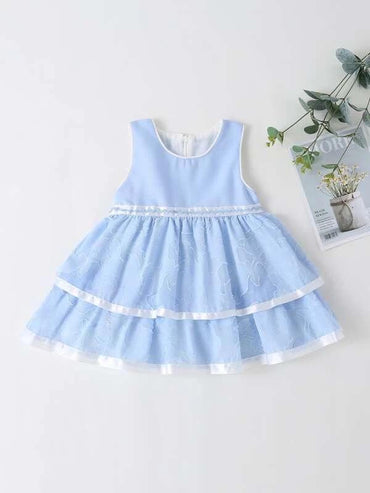 Toddler Girls Contrast Trim Layered Ruffle A-line Dress