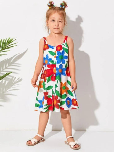 Toddler Girls Floral Print Button Front Cami Dress