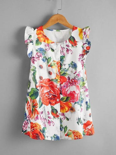 Toddler Girls Floral Print Ruffle Trim Button Front Dress