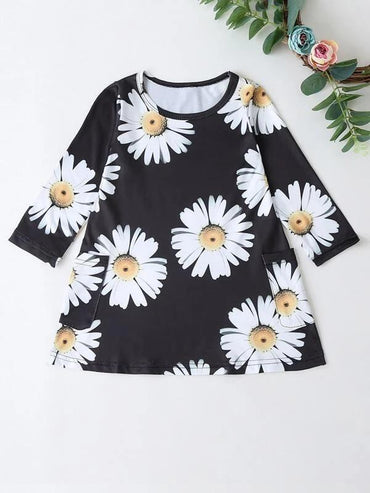 Toddler Girls Floral Print Tee Dress