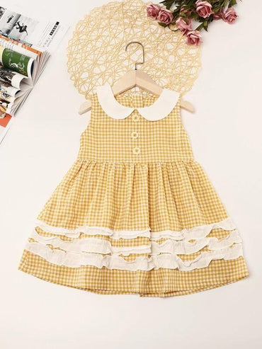 Toddler Girls Frill Trim Gingham Babydoll Dress