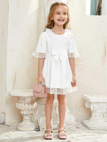 Toddler Girls Lace Trim Bow Front Babydoll Dress