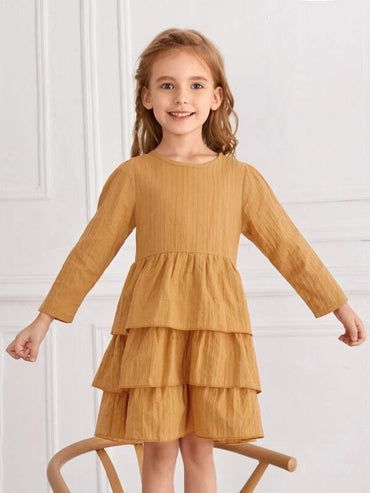 Toddler Girls Layered Hem Smock Dress