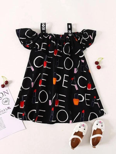 Toddler Girls Letter Graphic Tape Cold Shoulder Dress