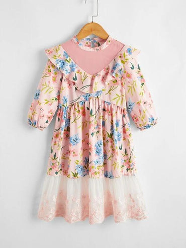 Toddler Girls Ruffle Trim Floral Dress