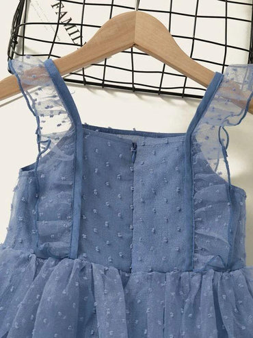 Toddler Girls Swiss Dot Ruffle Trim Mesh Dress