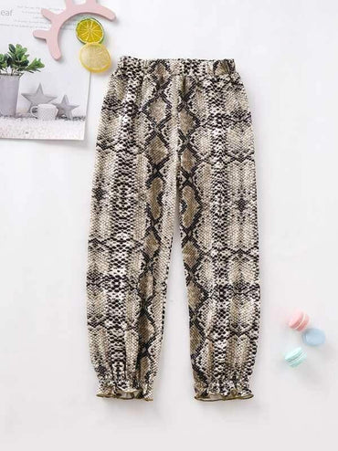 Toddler Girls Allover Snakeskin Print Frill Hem Pants