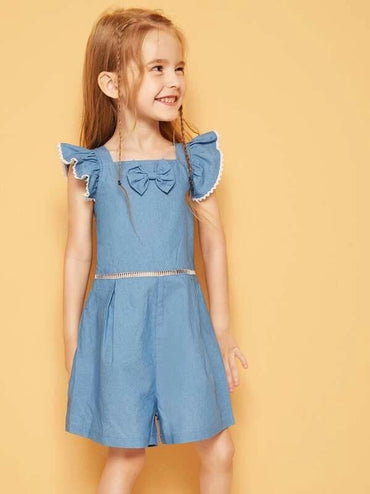 Toddler Girls Bow Detail Lace Insert Romper