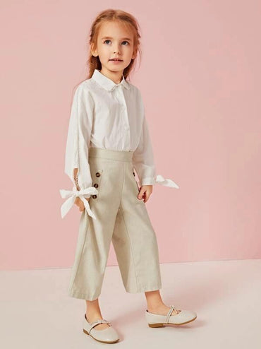 Toddler Girls Button Decoration Wide Leg Pants
