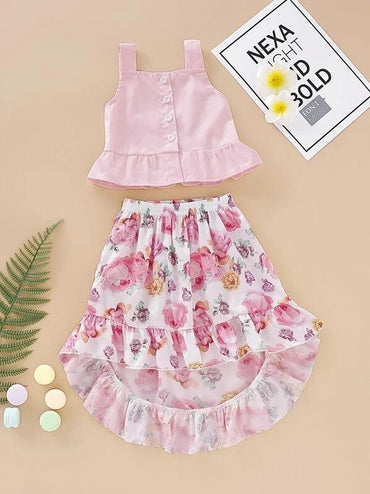 Toddler Girls Button Front Cami Top & Floral Ruffle Hem Skirt