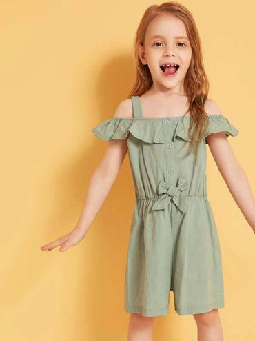 Toddler Girls Button Front Cold Shoulder Bow Romper