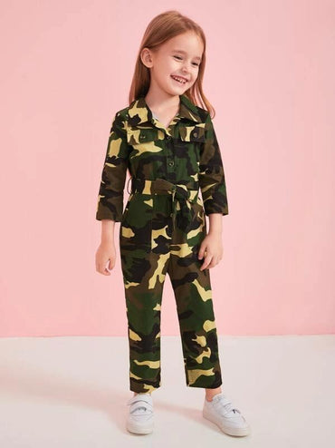 Toddler Girls Button Front Self Tie Camo Cargo Jumpsuit