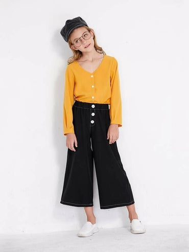 Toddler Girls Button Front Topstitching Wide Leg Pants