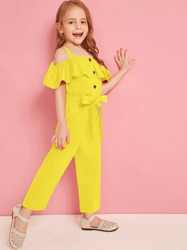 Toddler Girls Cold Shoulder Ruffle Trim Belted Jumpsuit