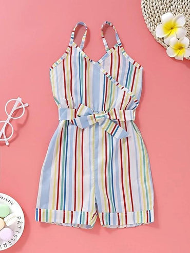 Toddler Girls Colorful Striped Belted Cami Romper