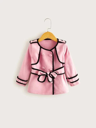 Toddler Girls Contrast Binding Double Breasted Belted Coat