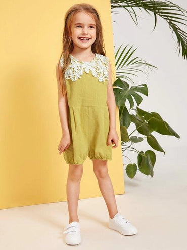 Toddler Girls Contrast Lace Zip Back Romper