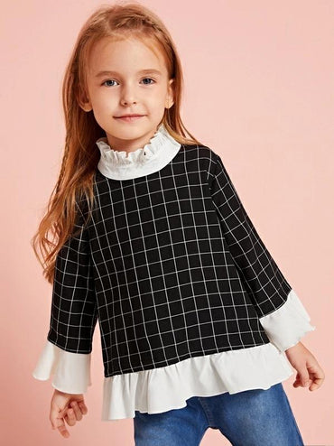 Toddler Girls Contrast Panel Grid Plaid Peplum Blouse