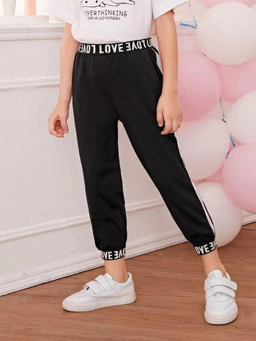 Toddler Girls Contrast Side Letter Graphic Joggers