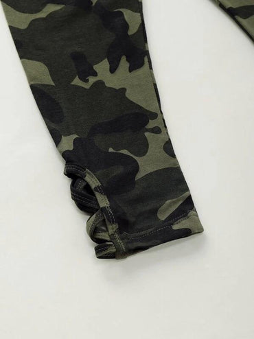Toddler Girls Criss Cross Hem Camo Pants