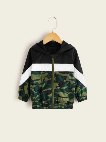 Toddler Girls Cut And Sew Camo Hooded Windbreaker Jacket